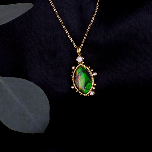 Ammolite Diamond Pendant (04307)