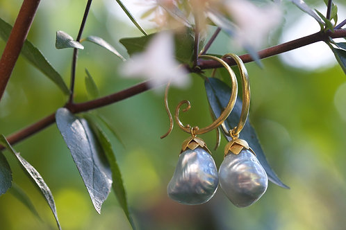 Gray Tahitian Pearl and Gold Earrings (05370)