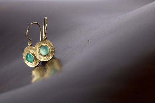 Chrysoprase and Mixed Metal Earrings (05302)