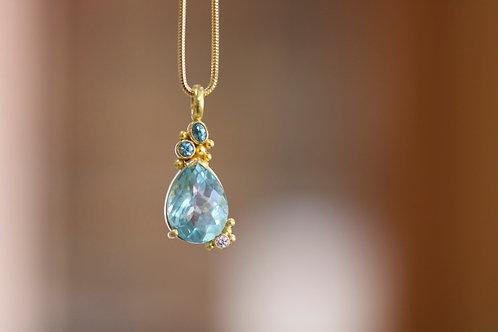 Aquamarine, Blue Zircon Pendant (06760)