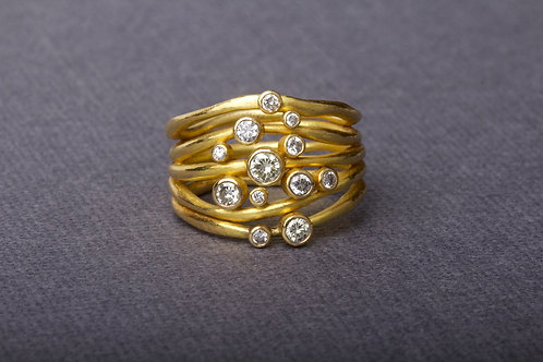 Multiband Ring with Diamonds in Yellow Gold (8006)
