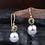 Thumbnail: Gold Tourmaline Tahitian Pearl Earrings (04050)