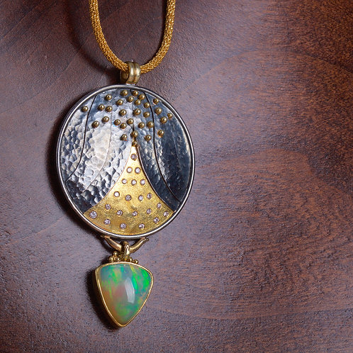 Mixed Metal Disk and Opal Pendant (05719)