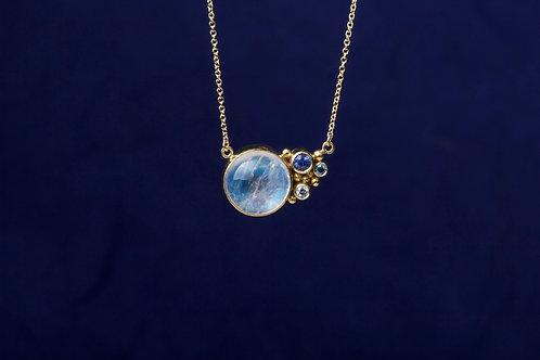 Moonstone Sapphire Diamond Necklace (02667)