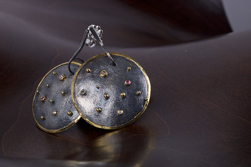 Colored Diamond Disk Earrings (05186)