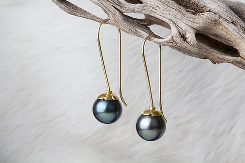 Tahitian Pearl Gold Earrings (02040)