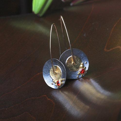 Sapphire Mixed Metal Earrings (06734)