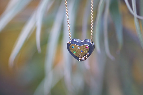 Silver and Gold Heart Pendant (05871)