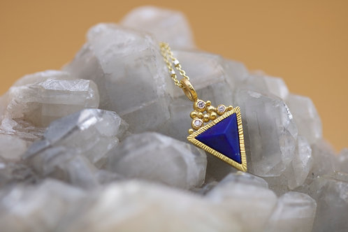 Pyramid Cut Lapis Pendant (06629)