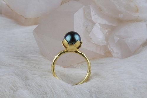 Tahitian Pearl Lotus Ring (02746)