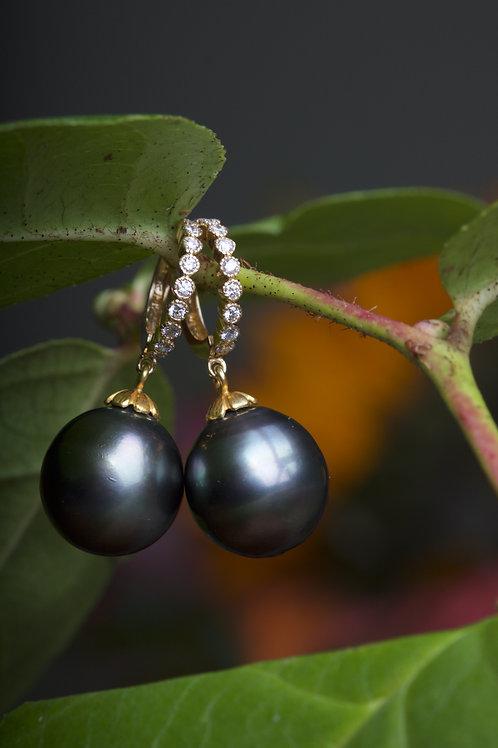 Tahitian Pearl and Diamonds Earrings (06865)