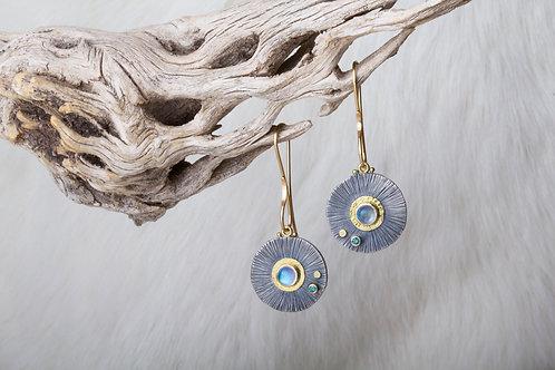 Moonstone Diamond Mixed Metal Earrings (02683)