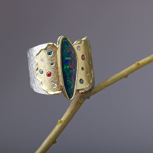 Opal and Gold Melt Ring (05874)