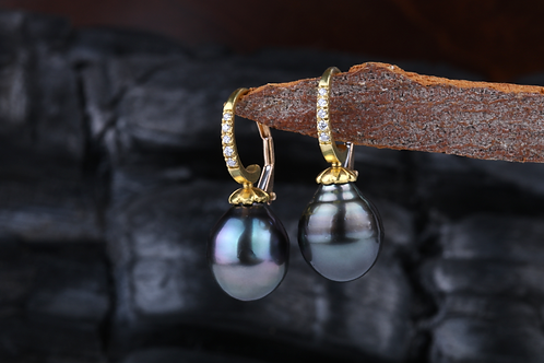 Tahitian Pearl Diamond Earrings (02915)