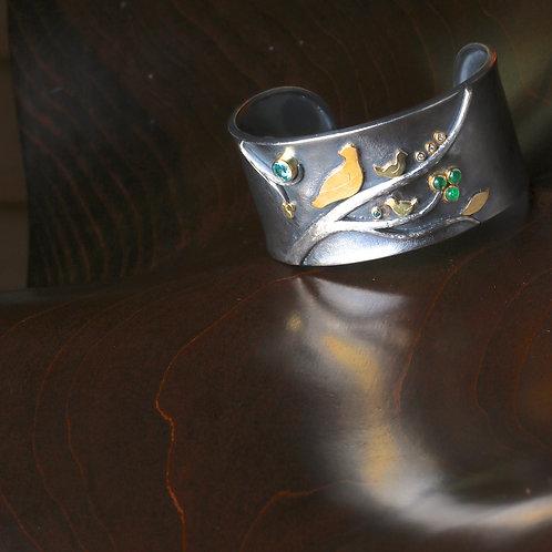 Emerald and Apatite Bird Cuff (06925)