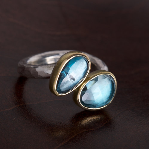 Double Blue Topaz Ring (05805)