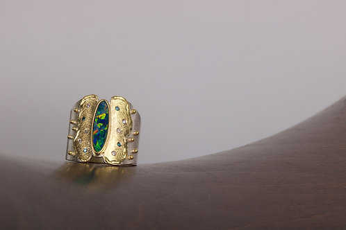Opal and Mixed Metal Ring (05522)