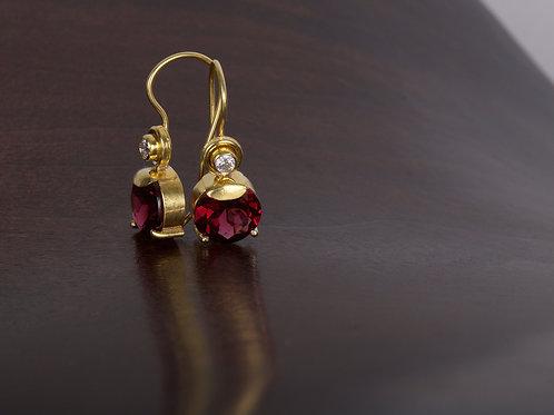 Rhodolite Garnet and Diamond Earrings (05508)