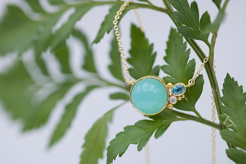 Chrysoprase and Zircon Necklace (06709)