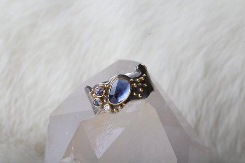 Sapphire Diamond Mixed Metal Ring (02665)