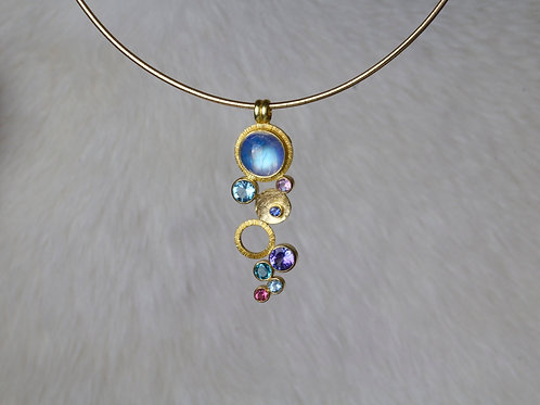 Multi Stone Gold Pendant (01644)