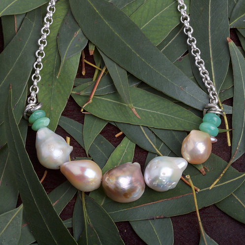 Baroque Pearl and Peruvian Opal Necklace (05833)