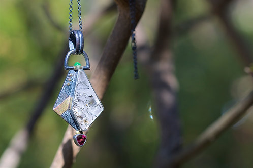 Quartz and Tourmaline Necklace (05393)