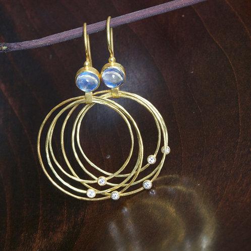 Moonstone and Diamond Hoop Earrings (06896)