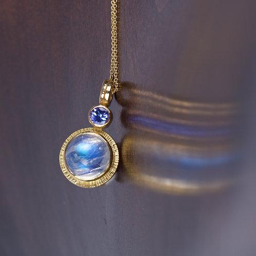 Moonstone and Sapphire Pendant (05197)