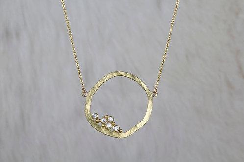 Gold Diamond Circle Necklace (02159)