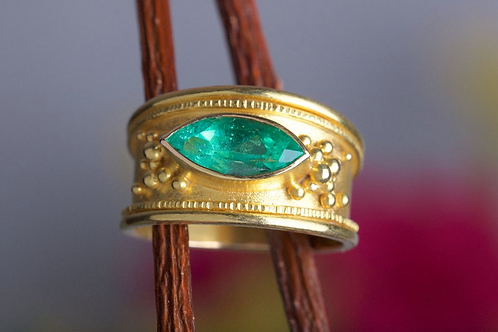 Marquise Cut Emerald Ring (06368)