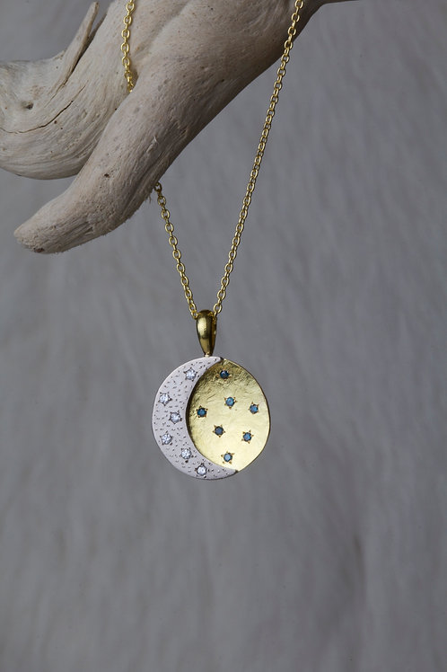 White Gold Moon Pendant (02316)