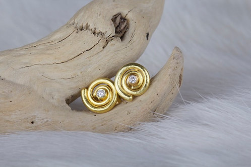 Gold Spiral Earring with Diamonds (8190)