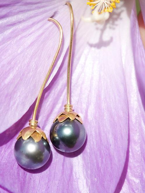 Hanging Tahitian Pearl Earrings (05811)