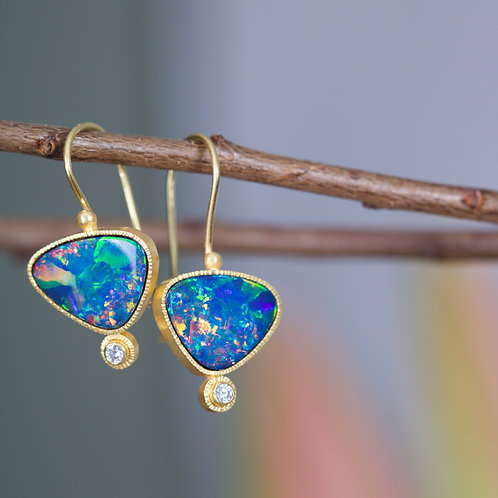 Opal and Diamond Earrings (06198)