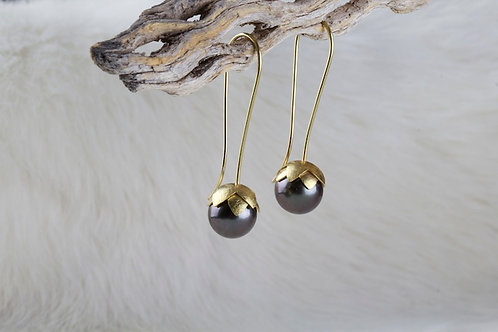 Tahitian Pearl Golden Lotus Earrings (02912)