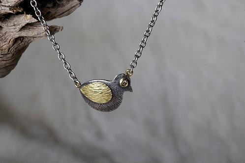 Diamond Mixed Metal Bird Necklace (02249)