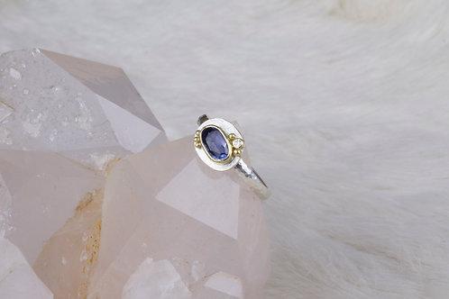 Mixed Metal Sapphire Diamond Ring (03193)