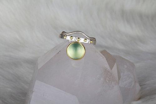 Prehnite Mixed Metal Ring (02237)