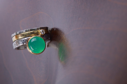Chrysoprase Mixed Metal Ring (05184)