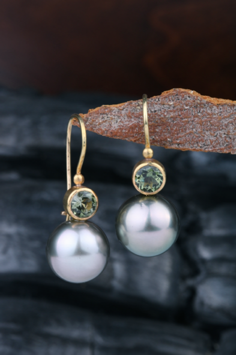 Gold Tourmaline Tahitian Pearl Earrings (04050)