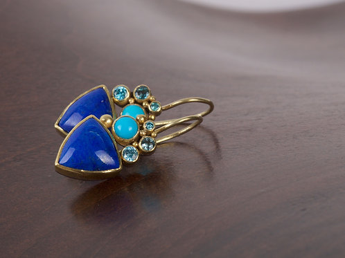 Lapis and Mixed Gem Earrings (05490)