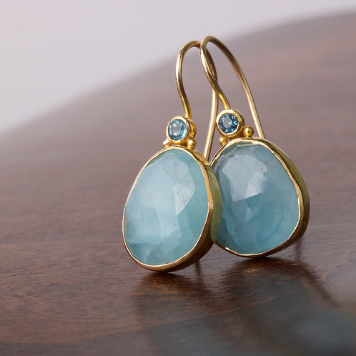 Rose Cut Aquamarine Earrings (05864)