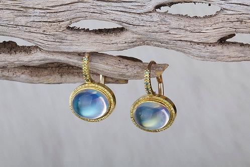 Moonstone Diamond Earrings (02836)