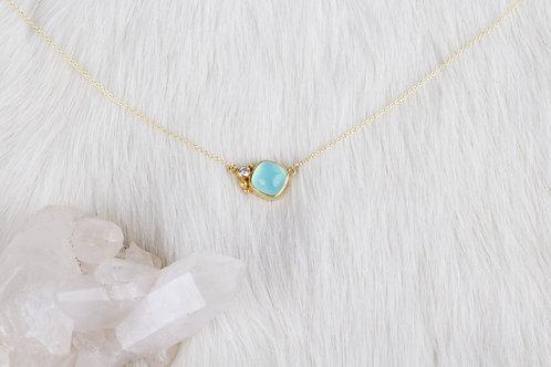 Peruvian Opal Diamond Gold Necklace (04227)