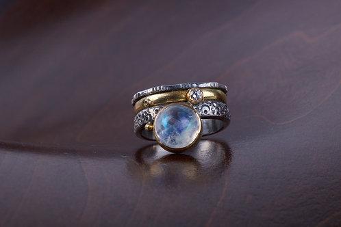 Moonstone Mixed Metal Ring (05185)