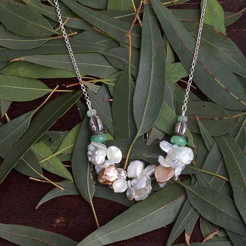 Corn Flake Pearl Beaded Necklace (05841)