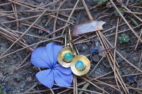 Ethiopian Opal and Diamond Earrings (05376)
