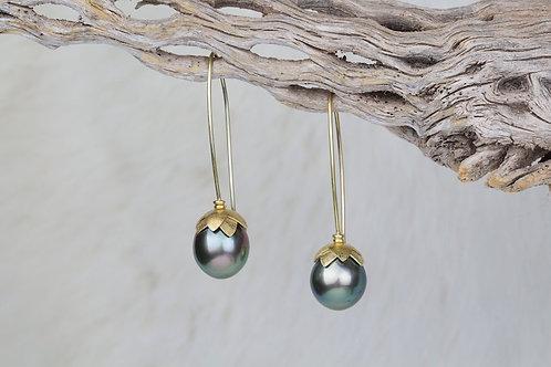 Tahitian Pearl Gold Lotus Earrings (03231)