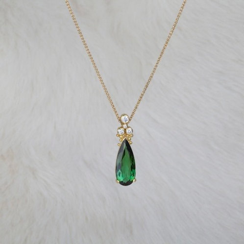 Green Tourmaline Diamond Pendant (01331)